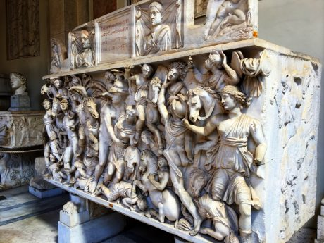 A sarcophagus that was for a couple, with a scene of Greeks fighting Amazons.