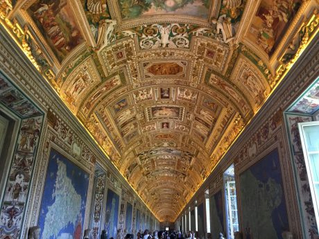 The ceiling of one of the many corridors we explored in the Vatican Museum.