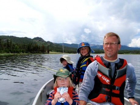 The 4 biggest reasons I want to stay fit. Photographed on Frye Lake are my husband, Jerry, and our three sons, Fin, Hayden and Wolf.