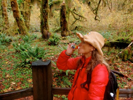 Fueling up for the 10 miles of running/hiking I would do in Hoh Rain Forest, Olympic National Park.