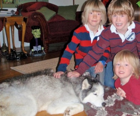 Our three sons with Taiga, during her last days.