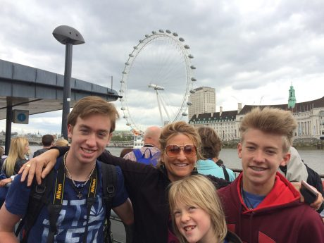 With the boys in front of the Eye of London.