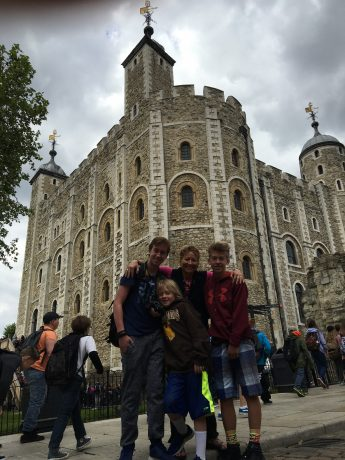 The boys and I in front of the White Tower.