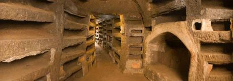 A glimpse into the Catacombs of Priscilla. (Photo borrowed from CatacombePriscilla.com)