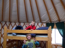 Our sons loving the bunks in the yurt.