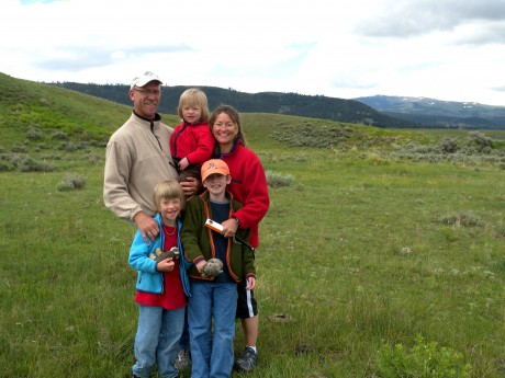 Family photo in Lamar Valley.