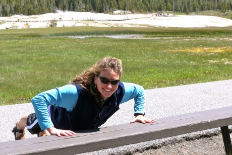 Getting some incline pushups in while Jerry and the kids walked the Upper Geyser Basin trail in Yellowstone.