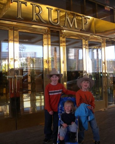 Our three boys in front of Trump Tower... OR... Our country bumpkin sons have arrived.